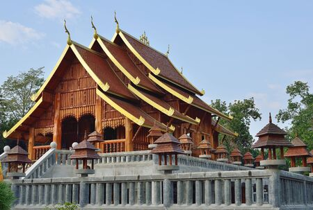 Teak tree temple in Thailand,Lampang Фото со стока