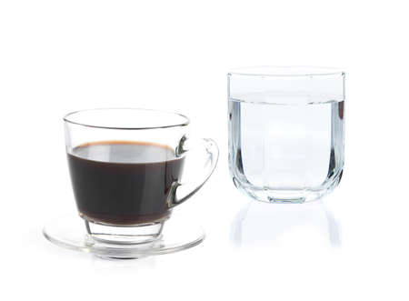 addictive drinking: A Cup of coffee and drinking water on white background