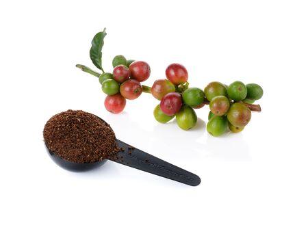 cereza: baya de caf� y granos de caf� sobre fondo blanco