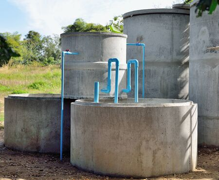 sludge: rural areas wastewater treatment plant Stock Photo