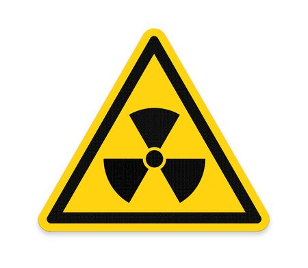 radiation symbol: Yellow triangle sign with a radiation symbol ,part of a series.