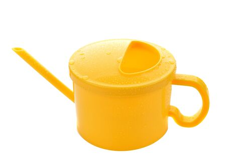 Yellow Round type watering pot colorful on white background