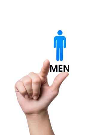Hand finger pointing Restroom  sign