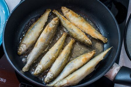 smelt: Fried small smelt tasty fish on a barbecue grill  hotplate Stock Photo