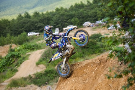 Yuzhno-Sakhalinsk , Russia - August 14, 2015: the struggle of motorcyclists on Enduro competitions hard Enduro no place to run Editorial