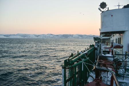 sakhalin: island of Sakhalin Kholmsk morning, winter sea
