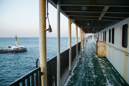 treacherous: The pier is a solid sheet of ice