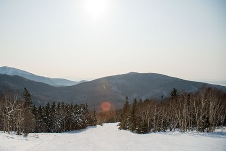 sakhalin: Winter mountain landscape . Sakhalin island .winter mountain ski trail