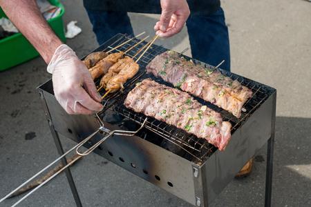 meat skewers: grilled meat skewers, barbecue food, grill meat