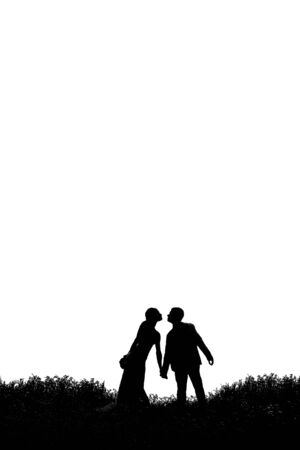 role model: silhouette of bride and groom in the grass on a white background