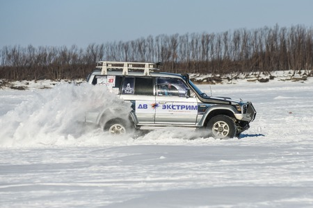 Khabarovsk, Russia - January 30: off-road vehicles during the annual competitions in the jeep sprint on ice January 30, 2016 in Khabarovsk , Russia.