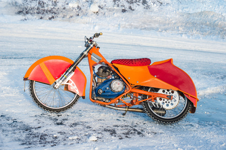 motorcycle for winter Speedway on the ice Stock Photo