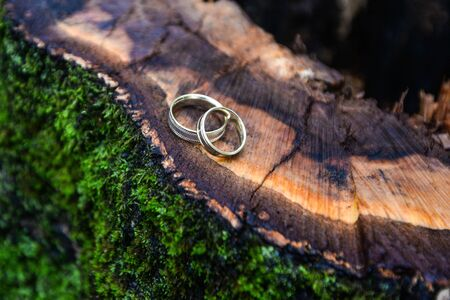 Old wedding rings on red background, The gift for valentine day, selective focus Stock Photo