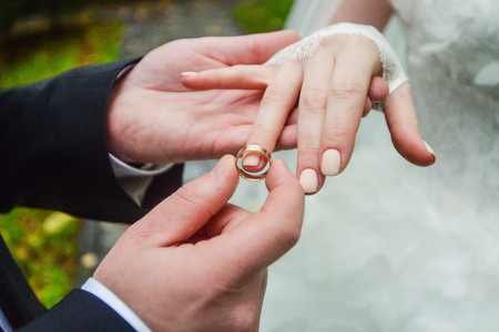 fingers put together: birde wears the ring on the finger of the groom