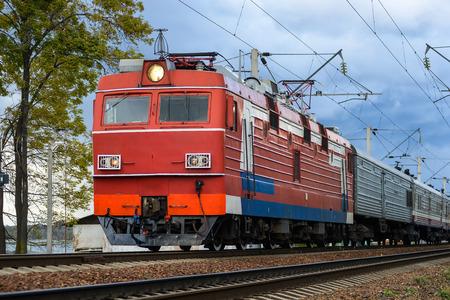 electric train on vintage railroad