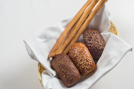 breadbasket: bread plate in the restaurant Stock Photo