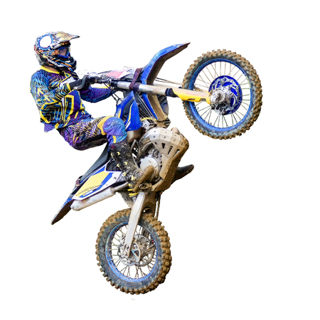 motorcycle Enduro rider in flight, on a white background Stock Photo