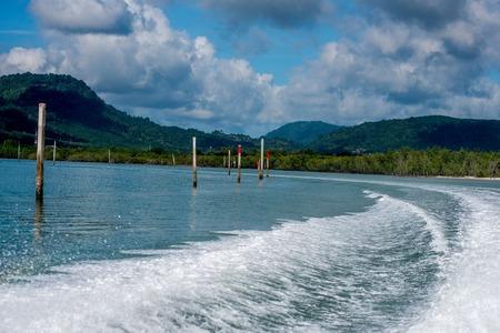 Port berth yacht and speedboat in phuket Stock Photo