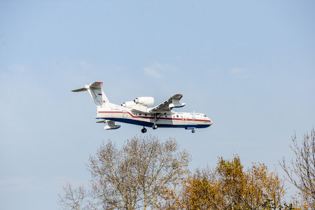Khabarovsk, Russia - 03.10.2017: Beriev be-200 CHS Plane amphibian of the Ministry of emergency situations of Russia in Khabarovsk is landing