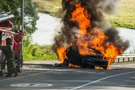 passenger car in a fire
