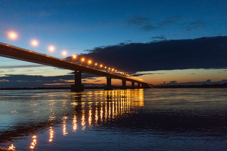 Russia Bridge on the Big Ussuri Island near Khabarovsk, Russia 写真素材