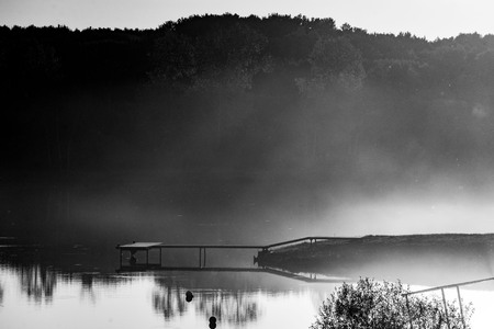 berth lake fog sunset summer yellow green black