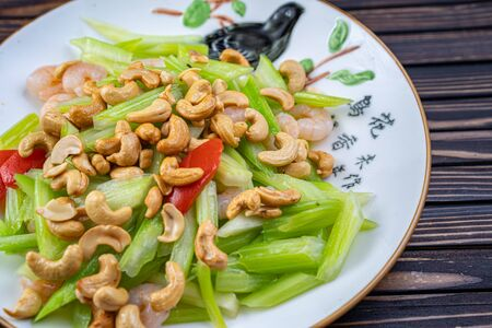 Vegetable dish, Chinese cooking. salad pepper nuts