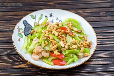 Vegetable dish, Chinese cooking salad pepper nuts