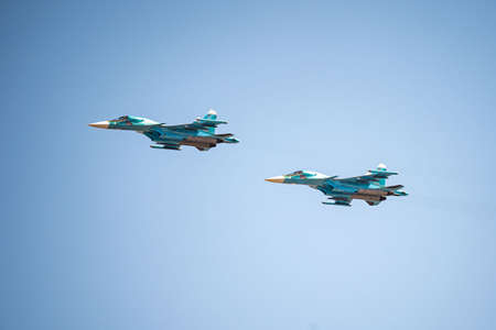 Russia, Khabarovsk - May 9, 2020: Su-34 front-line fighter-bomber . Parade in honor of victory. Military air parade in honor of Victory Day. Stockfoto - 146716207