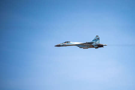 Russia, Khabarovsk - May 9, 2020: Su-35S multi-functional fighter of generation 4 . Parade in honor of victory. Military air parade in honor of Victory Day. Redactioneel