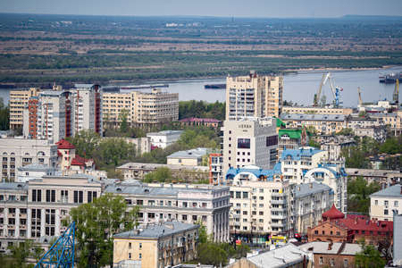 Russia, Khabarovsk - May 9, 2020: Khabarovsk city views, ponds, churches, shopping centers, residential buildings