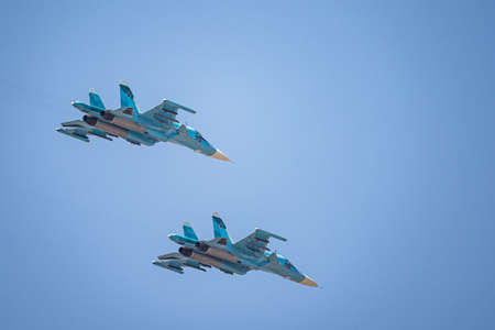 Russia, Khabarovsk - May 9, 2020: Su-34 front-line fighter-bomber Parade in honor of victory. Military air parade in honor of Victory Day. Stockfoto - 146809665