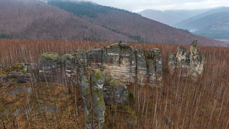 Anyu pillars . Beautiful rocky gray textured background with mosses and lichens. Surface mountain cliff close-up. Stockfoto