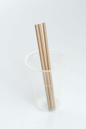 Bamboo drinking straws with Zero - waste. Ecological concept. Concept zero waste. Selective focus, copy space. white background.