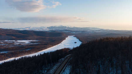 taiga far East of Russia . Amgun river top view Stockfoto