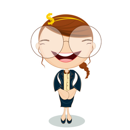 cute accounting girl Character Cartoon