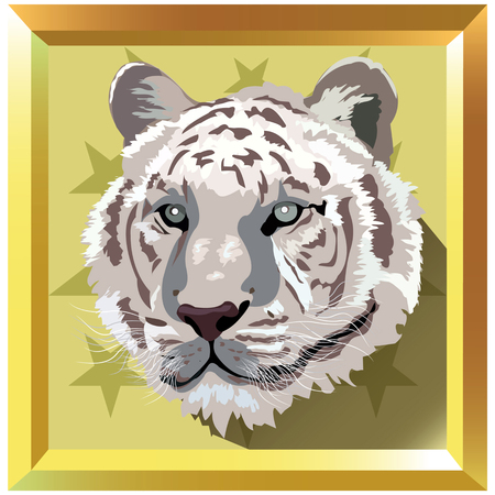 White tiger in frame illustration Illustration