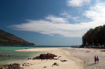One beach on Lipe Island, Satun, Thailand. Stock Photo