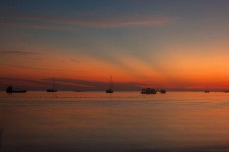 Beautyfull sky after sunset at Lipe Island, Satun, Thailand. Stock Photo