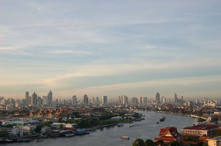 Chao Phraya River in the morning, Bangkok, Thailand.