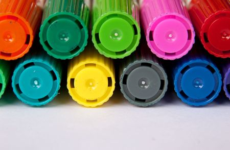 Colorfull pens for drawing on isolate.