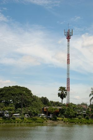 Mobile telephone station and nice sky, Thailand.