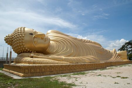 Reclining Buddha at Lam Pho Temple, Song Khla, Thailand. Stock Photo