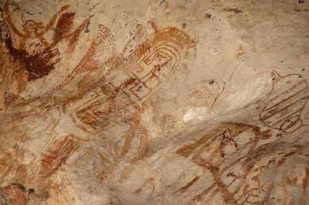 cave painting: Pintura de cueva prehist�rica en Phangnga, Tailandia.