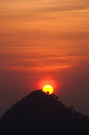 Sunset on hill at Northern, Thailand.
