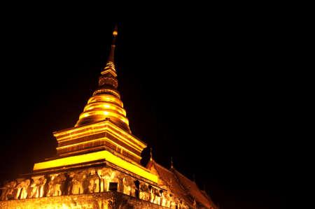Golden pagoda on night at Northern, Thailand.