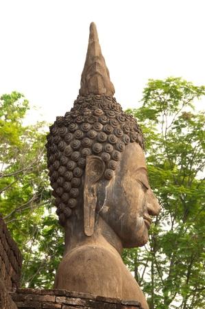 Closeup a head of buddha statule.