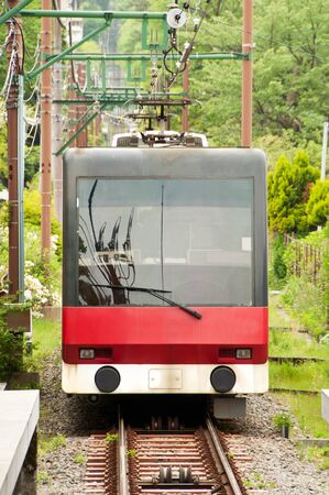 Tramcar on mountain at Japan.