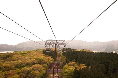 Cable car on tower at Japan.