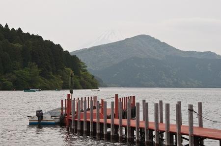 Bridge and lagoon at Fuji Mountain.